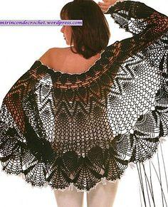Fine Black Lace Shawl free crochet graph pattern