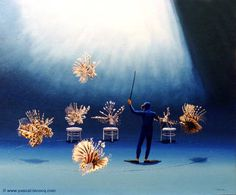 """CAGE AUX FAUVES - Cage of wild animals - oil on canvas by Pascal, The Painter of Blue ®, 18""""x22"""" 45x56 cm, 1999, lec523, priv.coll. Balboa, CA, ©www.pascal-lecocq.com Published in Mer & Littoral (France, 2003) #lionfish #tamer #art #painterofblue #painting #painter #artist"""