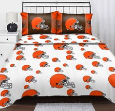 #oBedding - #The Northwest Company NFL Cleveland Browns Logo Full Sheets - 4pc Football Bedding Full-Double Bed - AdoreWe.com