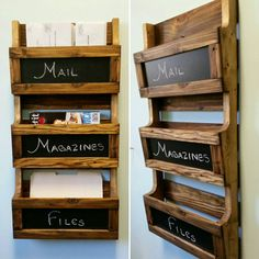 Reclaimed Pallet Wood 3 Pocket Vertical Wall Organizer with Chalkboard. Mail holder, file holder, magazine rack, office decor, kitchen decor