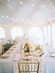 Tented Wedding Reception with Chevron Runners