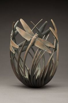 wood dragonfly vase...Ron Layport