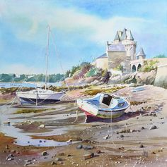 Saint Servan – Solidor | Joël SIMON Watercolor Landscape, Landscape Art, Watercolor Paintings, Watercolour, Peggi Kroll Roberts, Boston Museums, Watercolor Pictures, Bachelor Of Fine Arts, Whitney Museum
