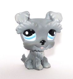Littlest Pet Shop LPS Gray Schnauzer 1393 with light blue/dark blue eyes and little pink tongue. Some call this little guy a Scottie Dog also. SOLD