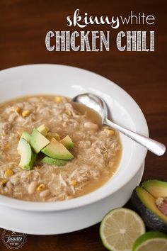 This Skinny White Chicken Chili is super healthy, full of protein, packed with flavor, really easy to make, and a great meal your family will love.