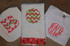 Personalized Baby Girl Onesie, Burp Cloth and Bib on Etsy, $35.00