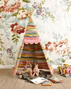 Spring Preschool Classroom Ideas: DIY Reading Tipi Tent Made with Woven Fabric Remnant Strips. Kids Crafts, Deco Kids, Blog Deco, Kid Spaces, Girl Room, Diy For Kids, Kids Playing, Kids Bedroom, Playroom