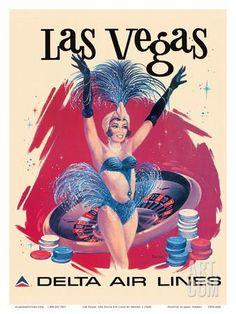 Las Vegas, USA, Vegas Show Girl, Delta Air Lines Art Print by Sweney at Art.com