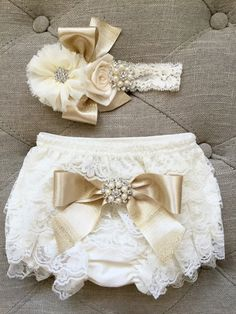 Ivory and gold Lace Ruffled Baby Bloomers by TheBabyBellaBoutique