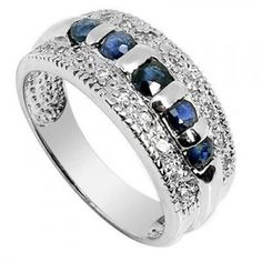 .75 Carat Sapphire Engagement Ring on Silver