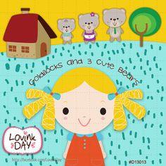 Goldilocks and 3 Cute Bears Clip Art Set  Commercial by LovinkDay, $7.00