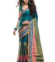 Buy Dark Aqua Blue plain cotton saree with blouse south-indian-saree online