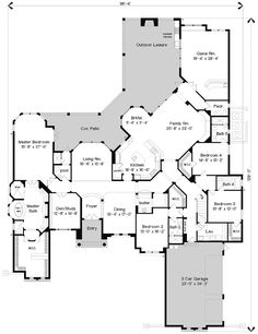Italian Style House Plans - 5962 Square Foot Home, 2 Story, 4 Bedroom and 6 3 Bath, 3 Garage Stalls by Monster House Plans - Plan 28-186