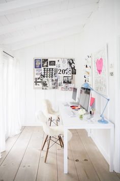 myidealhome:  light  luminous workspace for two (via At Home With Anne Ziegler - A Beautiful Mess, ph. Brittany Ambridge)
