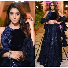 Blue georgette fully sequence work party wear lehenga choli