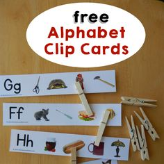 26 free beginning sound clip cards - The Measured Mom Learn letter sounds with these 26 free beginning sound clip cards! Preschool Letters, Kindergarten Literacy, Learning Letters, Preschool Learning, Early Literacy, Teaching Kids, Letter Sound Activities, Phonics Activities, Alphabet Activities