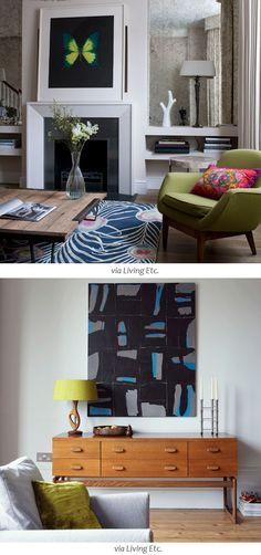 Bold art work and rug