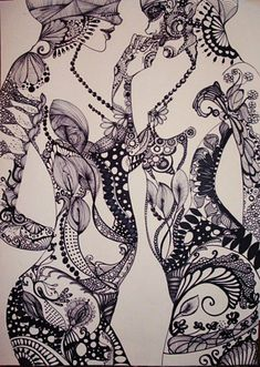 zentangle body forms - so beautiful Mehndi, Henna, Art Magique, Lesbian Art, Art Graphique, Photoshop, Art Plastique, Mandala Art, Erotic Art
