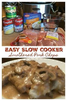 Easy Slow Cooker Smothered Pork Chops with Mushroom and Onion Gravy – Comfort food that's simple to make, so good. With just a few ingredients and minutes to whip together, this simple and flavorful slow cooker pork chop recipe is a meal the whole family Best Crockpot Recipes, Cooker Recipes, Porkchop Recipes Crockpot, Crockpot Ideas, Crockpot Recipes For Porkchops, Boneless Porkchops Crockpot, Bone In Porkchop Recipes, Cubed Steak Recipes, Quick Pork Chop Recipes