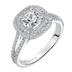 Brides: ArtCarved. Style 31-V375EUW-E, Betty cushion-cut engagement ring with double diamond halo and split diamond band, $6,620, ArtCarved