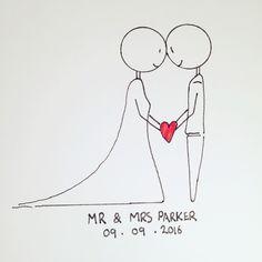 Stick man wedding card drawing.