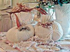 Penny's Vintage Home: Sweater Pumpkins and Milkglass