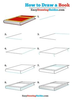 Learn How to Draw Book: Easy Step-by-Step Drawing Tutorial for Kids and Beginners. #Book #drawingtutorial #easydrawing See the full tutorial at https://easydrawingguides.com/how-to-draw-a-book-really-easy-drawing-tutorial/.