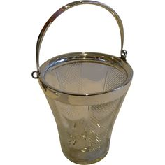 Antique English Glass & Silver Plate Ice Bucket by John Grinsell c.1900