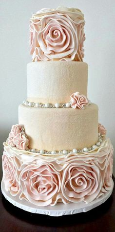 Indescribable Your Wedding Cakes Ideas. Exhilarating Your Wedding Cakes Ideas. Beautiful Wedding Cakes, Gorgeous Cakes, Pretty Cakes, Cute Cakes, Amazing Cakes, Fondant Cakes, Cupcake Cakes, Ruffle Cake, Rosette Cake