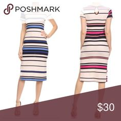 🔴 Striped midi dress BOGO sale Beautiful classy striped midi dress  measurements bust laying flat on one side S 17 M 18 L 19 length S 42 1/2 M 43 L 43 1/2 PLEASE USE Poshmark new option you can purchase and it will give you the option to pick the size you want ( all sizes are available) BUNDLE And SAVE 10% ( sizes updated daily ) Dresses Midi