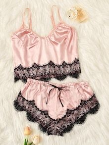 Scalloped Trim Contrast Lace Satin Cami PJ Set Check out this Scalloped Trim Contrast Lace Satin Cami PJ Set on Shein and explore more to meet your fashion needs! Jolie Lingerie, Sexy Lingerie, Lingerie Underwear, Sexy Shorts, Silk Knickers, Lace Trim Shorts, Satin Color, Satin Cami, Lingerie Outfits