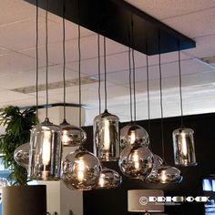 Hanglamp Splended Bowls - Driehoek meubelen Dining Room Lighting, Chandelier Lighting, Grey Kitchen Designs, Mason Jar Lamp, Glass Pendant Light, Modern Industrial, Light Table, Living Room Interior, Table Lamp