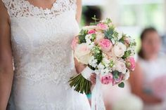 Pink & White rose classic bridal bouquet - Image by Lily and Frank Photography - Lace Claire Pettibone Gown & Jimmy Choo Shoes for a Bright Pink & Turquoise Wedding with Grey Groomsmen & Chocolate Naked Cake.