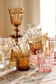 We love the cool shades and the hot vintage vibe of the Colorful Cafe Glassware from Pottery Barn. Inspired by family dinners and soda pop shops of days
