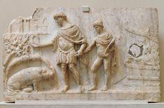 Aeneas & Ascanius in Latium; the sow indicates the place to found his city. Aeneid VIII. AD 2nd cent, British Museum.