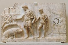 Aeneas & Ascanius in Latium; the sow indicates the place to found his city. Aeneid VIII. AD 2nd cent, British Museum.