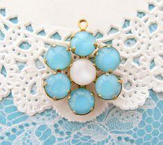 Vintage Aqua Blue & White Moonstone Flower Pendant Vintage Set Stones in Brass Setting 20mm - 1 by alyssabethsvintage on Etsy