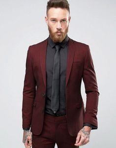 ASOS Super Skinny Suit Jacket In Burgundy Twist