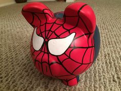 The Amazing Spider-Man Hand Painted Ceramic Piggy Bank Large Little Kitty, My Little Pony, Spiderman, One Stroke Painting, Flying Pig, Amazing Spider, Hand Painted Ceramics, Ceramic Painting, My Etsy Shop