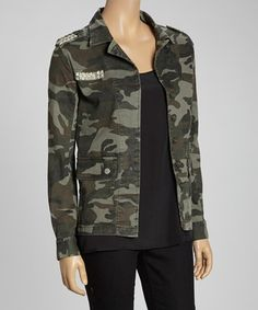 Take a look at this Green & Silver Stud Camo Jacket by Blu Pepper on #zulily today!