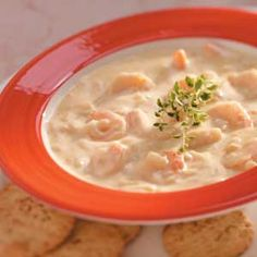 "Slow Cooker Shrimp Chowder - ""Simmer this rich and creamy creation in your slow cooker. Because the chowder is ready in less than 4 hours, it can be prepared in the afternoon and served to dinner guests that night."""