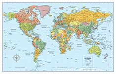 Rand Mcnally Signature World Map Affiche géante Free Printable World Map, Color World Map, Maps M, Word Map, Kids World Map, World Map Wallpaper, Map Shop, Maps For Kids, World Map Poster