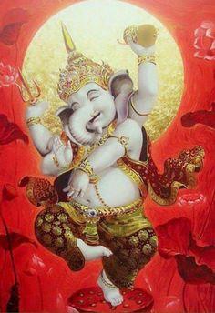 Lord Ganesha, Lord Shiva, Ganesha Art, Dancing Ganesha, Spiritual Paintings, Shree Ganesh, Gods And Goddesses, Indian Art, Deities