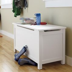 Kids Toy Chests: Kids Solid White Toy Box in Toy Boxes & Storage   The Land of Nod. two of these for sunroom...maybe with cushions on top for seating!