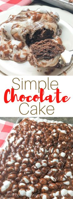 Y'all are going to love this simple chocolate cake with chocolate frosting. This is an easy homemade recipe that is perfect for any holiday.