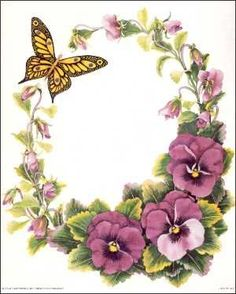 Pansy Wreath Paper Tole Kit size 56220 - with difficult people coupon One Stroke Painting, Tole Painting, Fabric Painting, Vintage Diy, Vintage Cards, Vintage Images, Art Floral, Flower Frame, Flower Art
