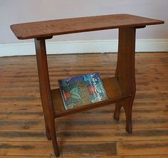 Oak Side Table And Book Trough