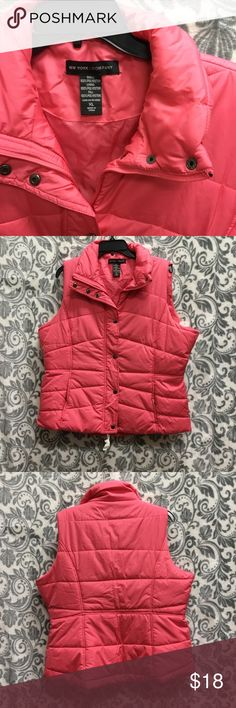 Ny and co 100% poly pink puffer vest nwot NWOT   Pink ny and co bubble/puffer vest  Excellent condition. There is one tiny spot on the back. It's in the fourth picture. More than likely, you won't be able to see it, but I like to list everything in my description.  Bundle multiple items to receive a generous private discount New York & Company Jackets & Coats Puffers
