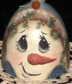 hand-painted vintage wine glass/candle holder with snowman face