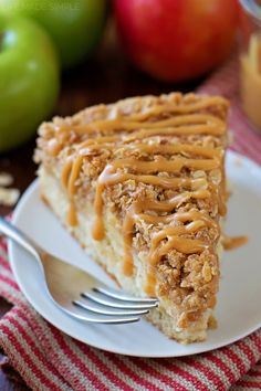 This apple crisp crumb cake is loaded with fresh apples, a thick oatmeal crumble and drizzled with a caramel glaze. It's perfect for fall!